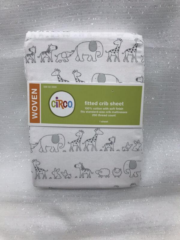 Circo Woven Baby Girl Boy Fitted Crib Sheet Gray Animals Safari 100% Cotton NEW