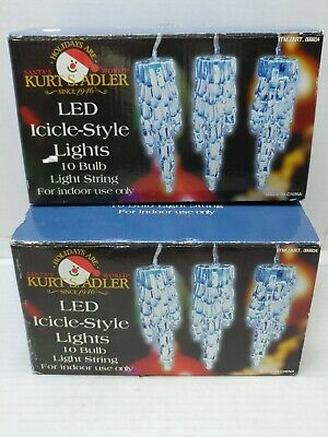 2 Sets of 20 Total lites KURT S ADLER LED ICICLE-STYLE LIGHTS Blue Color Ea 9ft