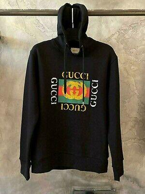 Gucci Vintage Logo Black Hoodie Sweatshirt Size 2XL - Free Express Shipping