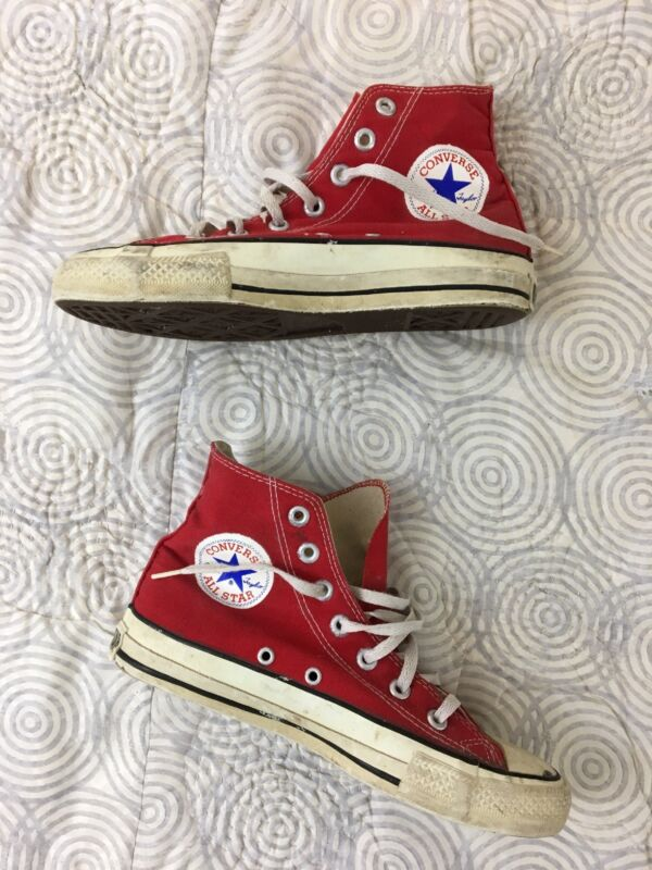 Vintage 1980s Converse Chuck Taylor Canvas Hi Top Sneakers Sz 5.5 Made in USA
