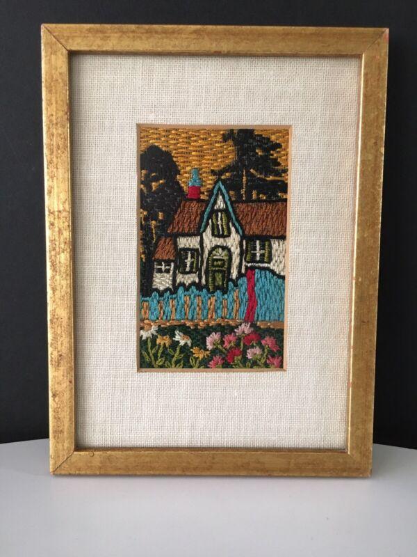 Vintage Crewel Embroidery Framed House/Garden Genre Painting Delightful!!!