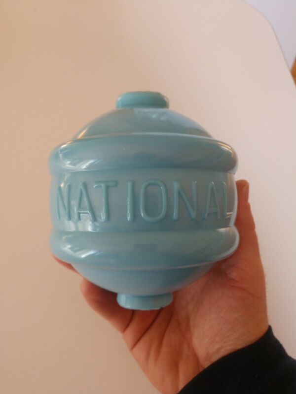 ***AWESOME*** Large Baby Blue Milkglass NATIONAL Glass Lightning Rod Ball