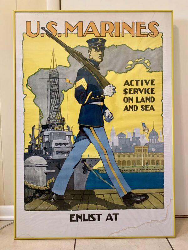 "U.S. Marines ""Walking Tall"" Sidney H. Riesenberg Original WWI Lithograph Poster"
