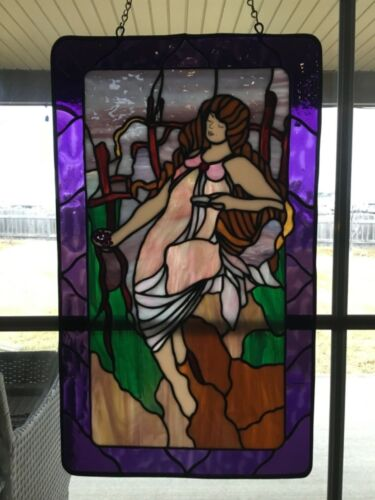 """Colorful Stained Glass panel Lady Woman in vineyard 19.5""""x 11"""""""