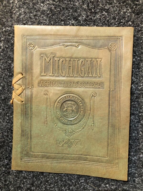 1915 MICHIGAN AGRICUTURAL COLLEGE MICHIGAN STATE PROGRAM WITH LEATHER COVER