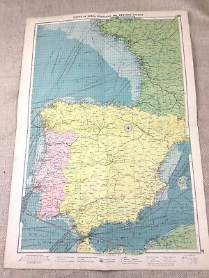 Vintage Map Spain Portugal France Shipping Routes Nautical Maritime Ports