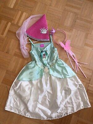 Princess Prinzessin Kleid + Krone + Stab Kostüm Fasching Tiana Frosch Gr 104-110