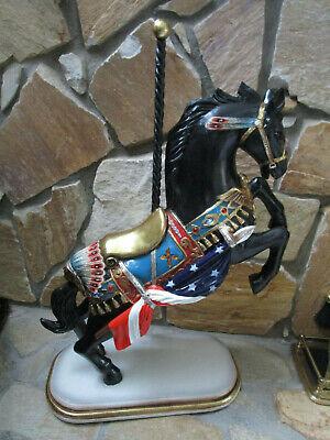 "LARGE CAROUSEL HORSE PATRIOTIC RESIN CERAMIC 33"" X 27"""