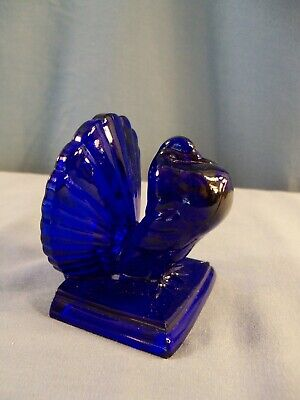 Mosser Cobalt Blue Glass Pigeon Figurine