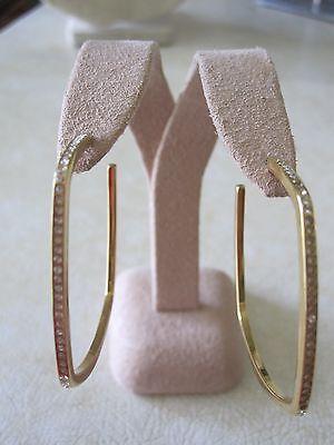 NWT Michael Kors Cityscape Chains Geometric Pave Stone Hoop Earrings/ Gold Tone