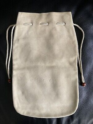 Vintage Gucci Suede Drawstring Dust Bag Sac For Storage and Travel