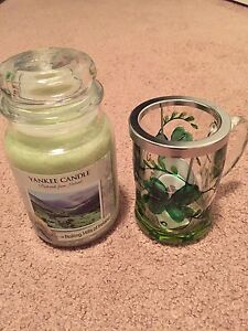 Yankee Candle, Rolling Hills Ireland & 4 Mug/tea light holder