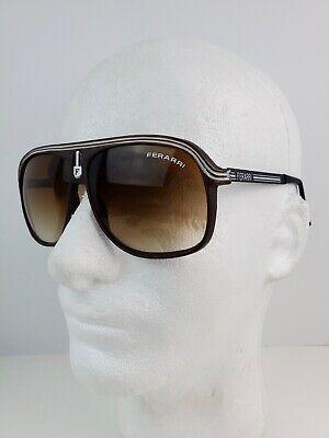 Vintage 1980's Ferrari Aviator Sunglasses White Lined Metal Arms plastic (White Frame Aviators)