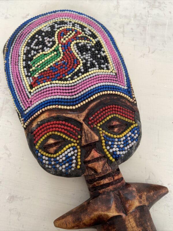African Tribal Carved Wooden Fertility God Statue Goddess Beaded Face 33cm High