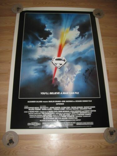 Christopher Reeve Superman The Movie Poster Signed By Gene Hackman/Margot Kidder