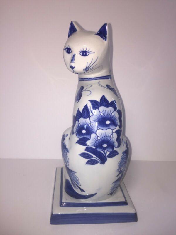 """Vintage Cat 1970's Nora Fenton Porcelain Blue White Cat statue Hand Painted 11""""H"""