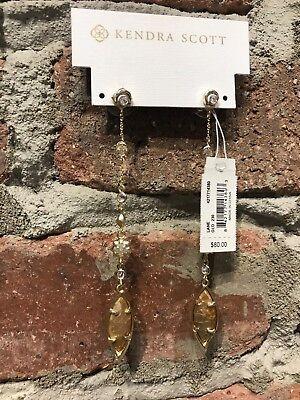 NWT Kendra Scott Lane Earrings in Crackle Brown MOP/Gold