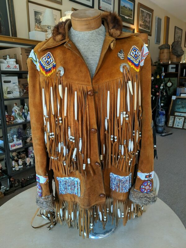 Vintage Native American Indian Leather Fur Jacket with Beadwork And Fringes
