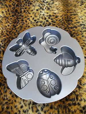 Nordic Ware GARDEN BUGS Cakelet Baking Pan ~ Non-Stick Cast Aluminum ~ 3 Cups