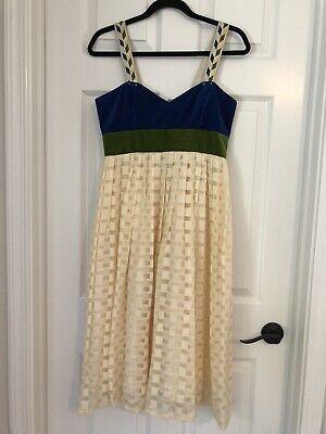 Madchen Anthropologie Vintage Style Blue Green Cream Velvet Check Dress Sz 4