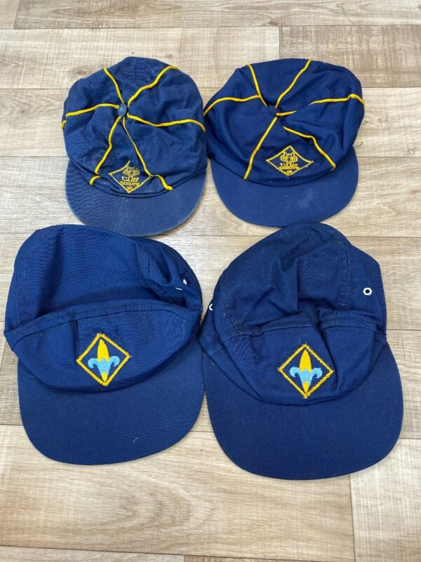 Vintage 1970s Cub Scouts Of America Fitted Size 7 And 6 3/4 6 1/2 Scout Hats Lot