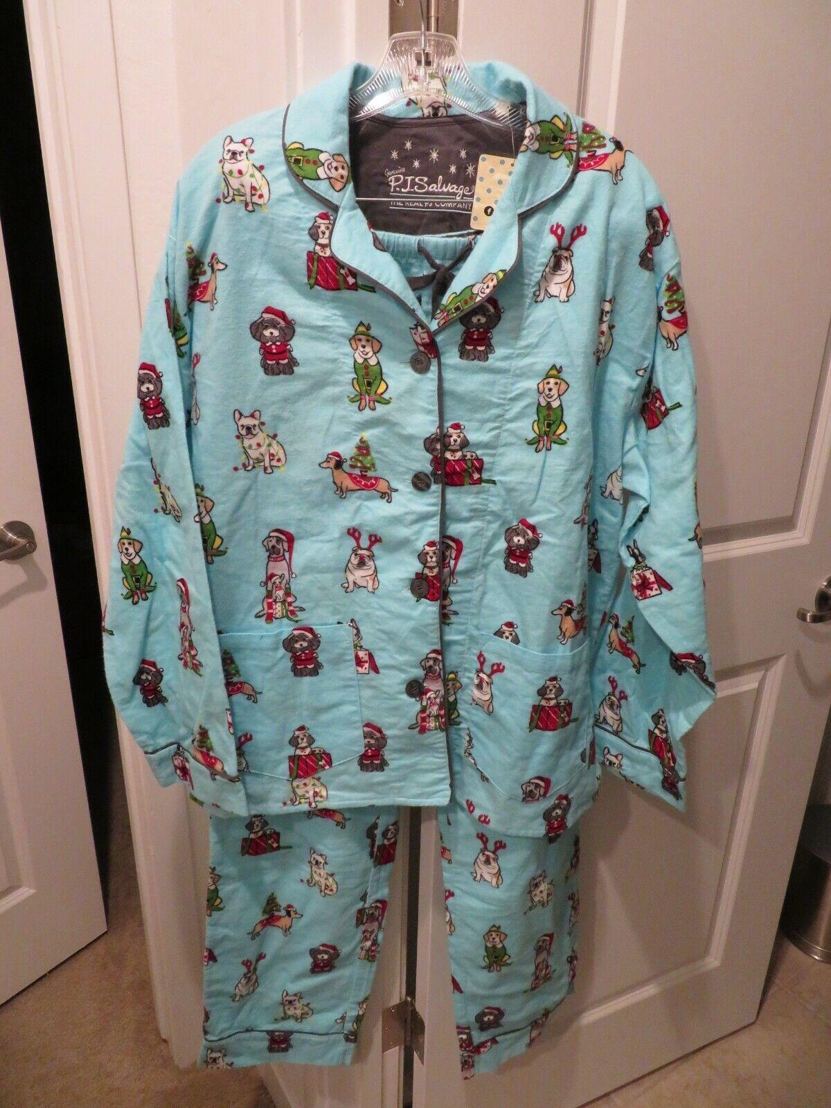 PJ Salvage Christmas Dog Pajama Set - Dachshund French Engli