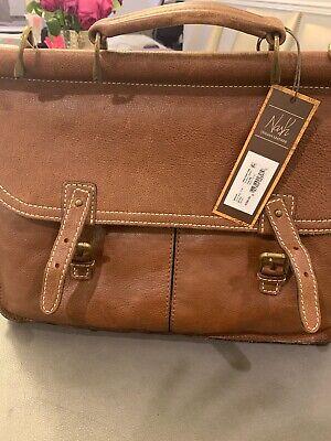 Nash Dowel Briefcase Men Work Crossbody Shoulder Bag Leather Rust Brown -