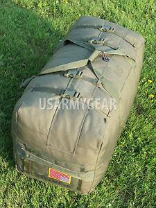 NEW US Army Military Deployment Duffle Flight Sea Bag Back Pack OD USGI w. Flag