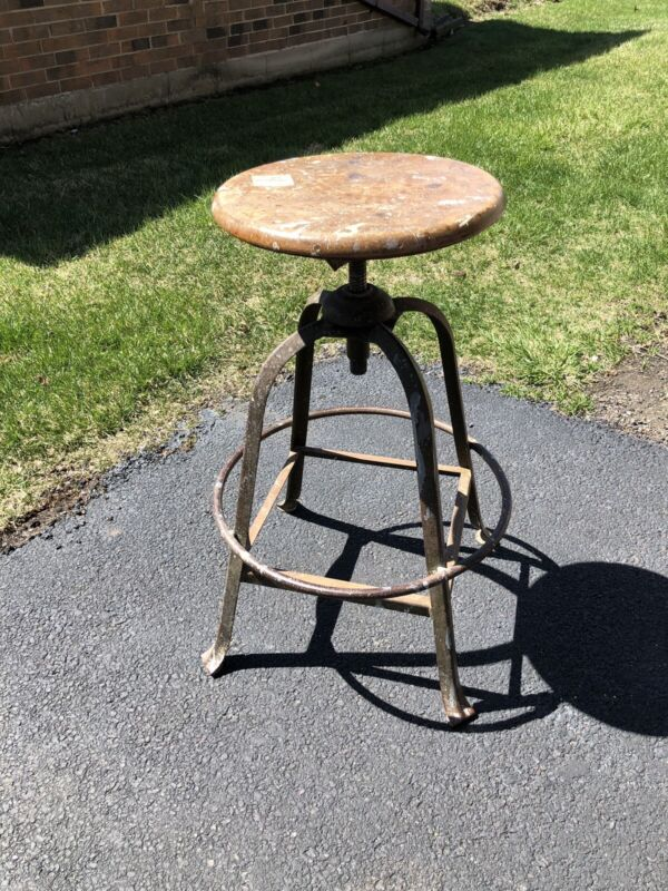 Vintage Industrial Drafting Stool~Adjustable Screw Seat