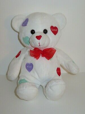 Wal-Mart Teddy Bear Plush White Hearts Love Stuffed Animal Kiss Red Bow 13