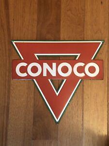 CONOCO Gasoline Red Triangle Metal Sign