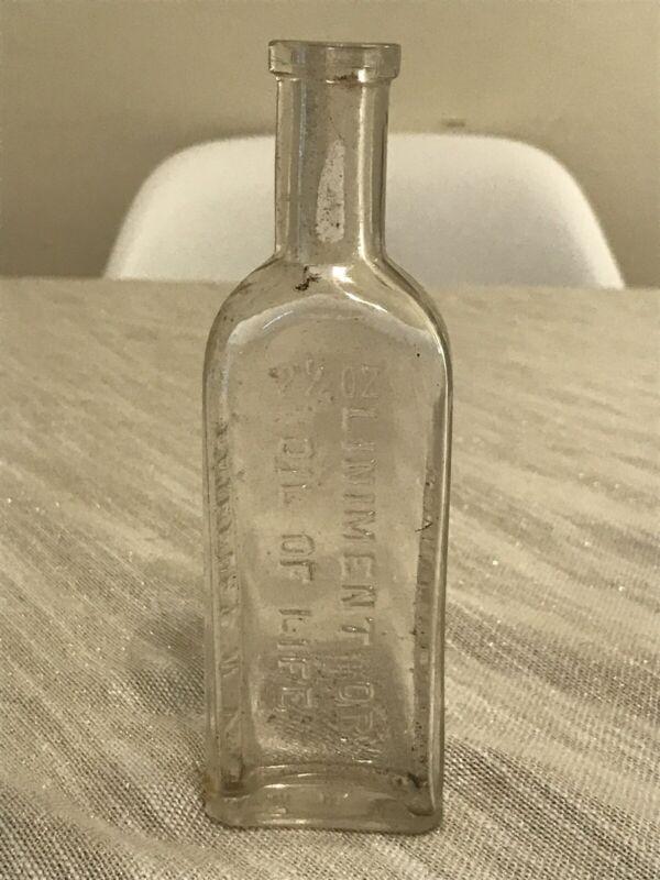 ANTIQUE VINTAGE GLASS BOTTLE 2 1/4 OZ LINIMENT OR OIL OF LIFE