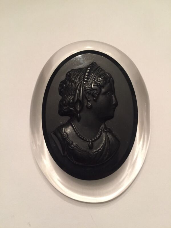 Vintage Black & Clear Lucite Big Cameo Brooch