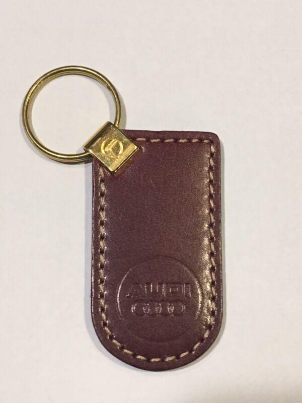 Vintage Burgundy Genuine Leather AUDI Keychain Key Chain - New/Old Stock