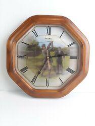 SEIKO 12 Wooden Wall Clock Vintage Golf Theme