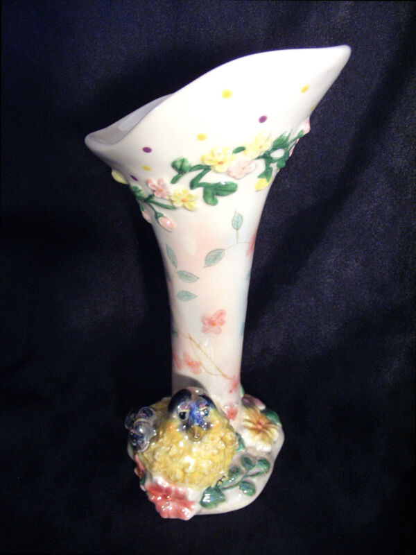 Goldfinch Bird Ceramic Bud Vase - Luster Opalescent Pink Yellow Blue - NEW