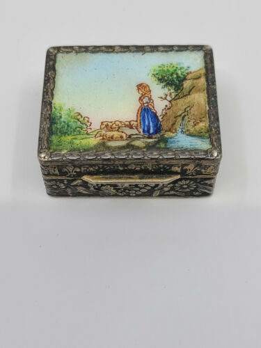 Antique 800 Silver Enamel and Fancy Floral Engraved Pill Box