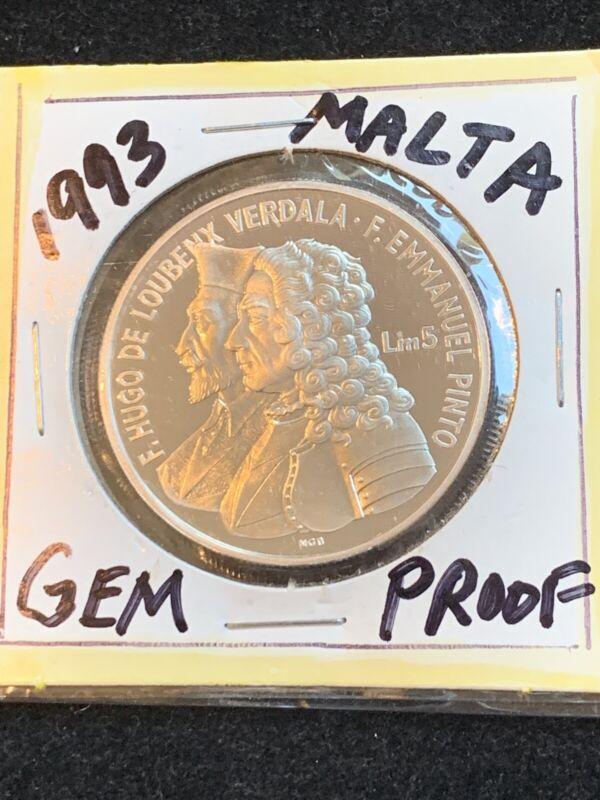 "Malta 5 liri 1993, PROOF, ""400th Anniversary - University of Malta"""