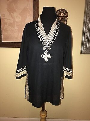 WITCHY Vintage Black & Cream Hippie Embroidered Kaftan Tunic🖤🔮🌙
