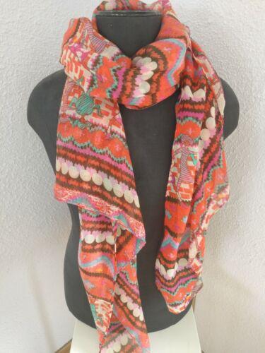 Damen Schal sehr groß Rot/Grün/Creme