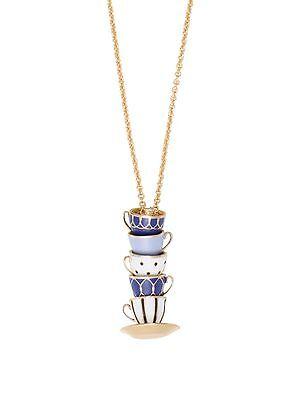 New Kate Spade Tea Time Tea Cups Set Pendant Necklace $98