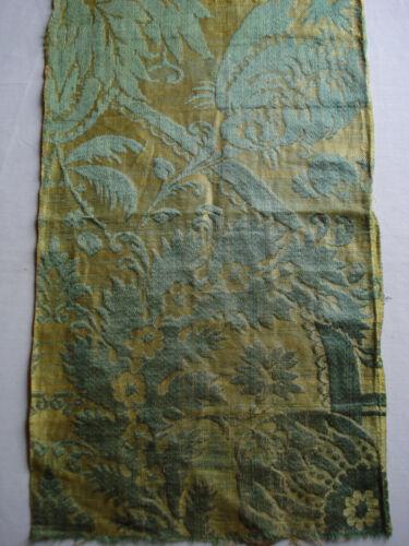 "antique  17th c silk / linnen brocade fragment 21 1/2"" x 12 1/2"""