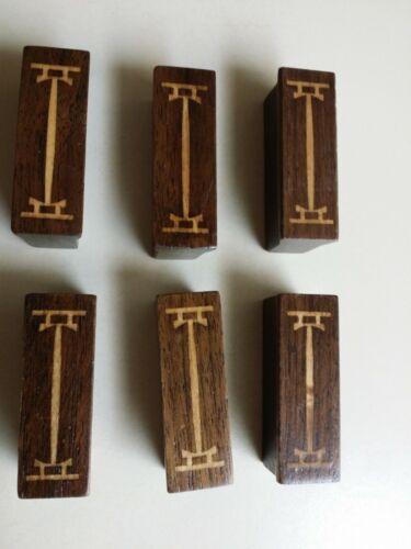 (6) Rare Stickley Metropolitan Wood Inlaid Pulls