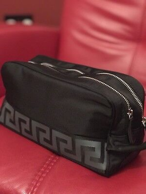 VERSACE MENS BLACK Designer TOILETRY BAG WASH TRAVEL Weekend Case NEW!!