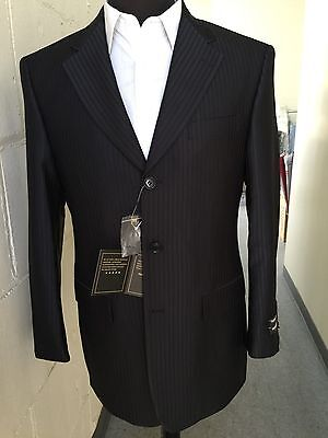 Men's 3 button Tone on Tone striped Suit Wool Feel Jacket & pants Black 38R~56L 3 Button Black Stripe Jacket