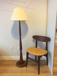 SOLID TEAK FLOOR LAMP MID CENTURY MODERN VINTAGE LIGHT
