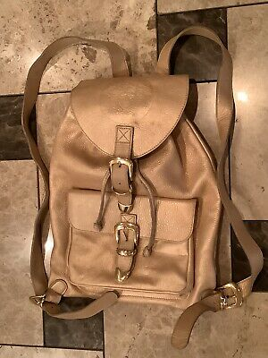 Vintage Gianni Versace Golden Leather Mens / Women's Backpack