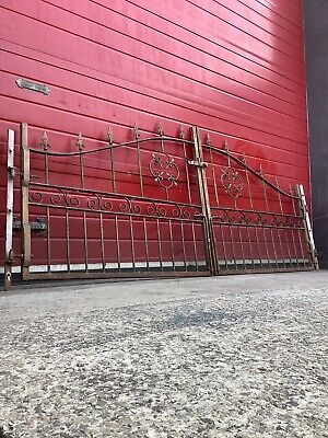 262cm Wrought Iron Driveway Metal Gates, Garden Fencing, Solid Spikes, Project