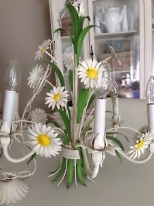 Large antique French country iron tole Daisy chandelier