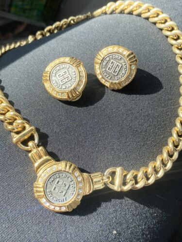 Vintage GIVENCHY Logo Coin Pendant , Rhinestones , Chain Necklace Set - $250.00